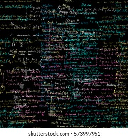 Seamless pattern with handwriting text. Calligraphic English text, black background. Natural hand writing style. Lectures archives on different subjects, graphic design, typography, web programming.