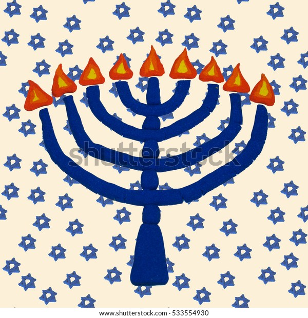 seamless pattern with Hanukkah symbols Chanukah candle, Jewish holiday background, children are molded from colored sand