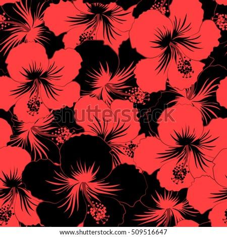 60c380100b49 Seamless pattern of Hawaiian Aloha Shirt seamless design in black and red  colors.