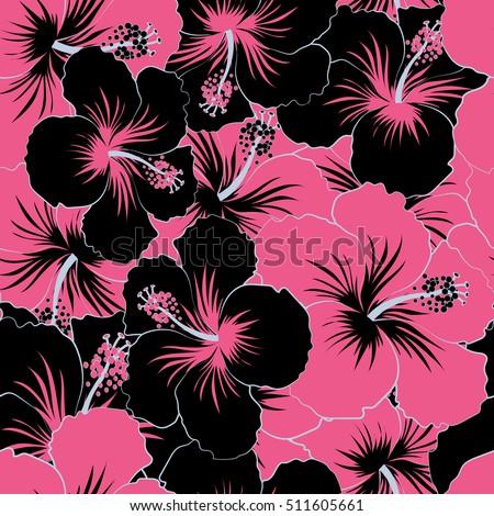 ead53036021b Seamless pattern of Hawaiian Aloha Shirt seamless design in black and pink  colors.