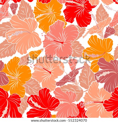 5ae97e482500 Seamless pattern of Hawaiian Aloha Shirt seamless design in red, pink and  orange colors on