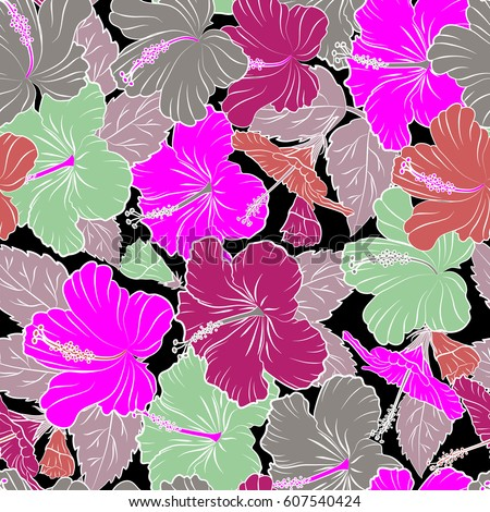 73625d2664d1 Seamless pattern of Hawaiian Aloha Shirt seamless design in pink and purple  colors on a black