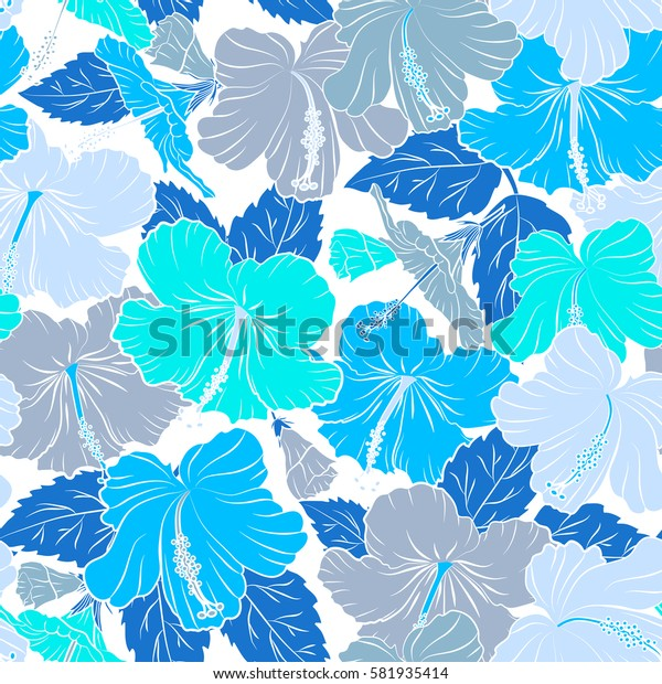 Seamless pattern of Hawaiian Aloha Shirt seamless design in blue colors on a white background.