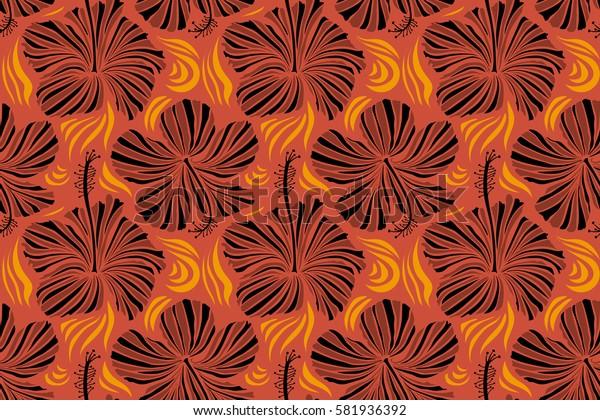 Seamless pattern of Hawaiian Aloha Shirt seamless design in orange and brown colors.