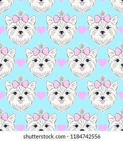 Seamless pattern with head of dog on blue background.