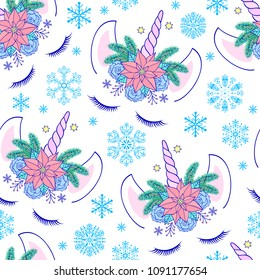 Seamless pattern with head of hand drawn unicorn on white background.