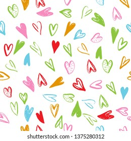 Seamless pattern with hearts. Handmade art. Can be use as t-shirt, wallpaper, textile, cards and etc., for your design projects.