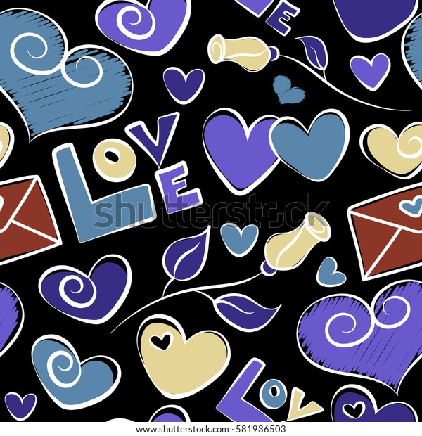Seamless pattern of hearts, love letter, flower and love text in a blue and violet colors on a black background.