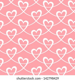 Seamless pattern with hearts of stylized ribbon. Romantic light pink decorative background Valentine's Day, wedding. Simple cute abstract ornamental illustration for paper, textile, print, web