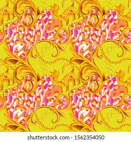 Seamless pattern with heraldic style griffin, Baroque elements and artisitc striped zebra leopard animal skin. Chain, border, accessories and jewelry. Victorian, Rococo, Baroque style background.