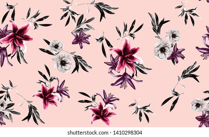 Seamless pattern with hibiscus flowers and tropical leaf