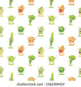 Seamless pattern with high protein vegan food characer. Almond, lentils, aspargus, pistachio, pumpkin seeds, broccoli, pea cute character.