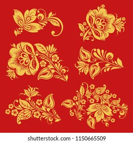 Seamless pattern in with hohloma decor elements. Classic Russian style in red and gold colors. Khokhloma floral ornament