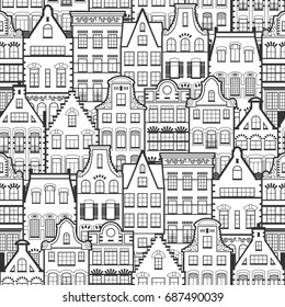 Seamless pattern of Holland old houses facades. Traditional architecture of Netherlands. Line style black and white isolated illustrations in the Dutch style. For coloring, design, background.