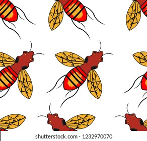 seamless pattern with honey bee. Engraving style.backraund