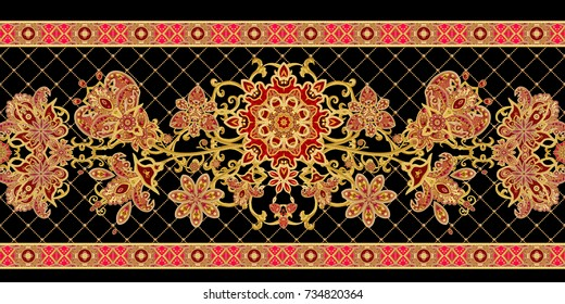 Seamless pattern horizontal border. Golden textured curls. Brilliant lace, stylized flowers. Openwork weaving delicate, golden background, Paisley.