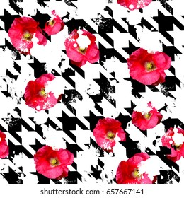 Seamless pattern houndstooth design. Grunge floral background with watercolor effect. Textile print for bed linen, jacket, package design, fabric and fashion concepts.