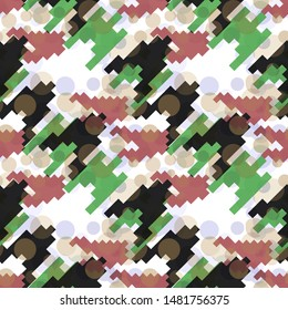Seamless pattern houndstooth design. Mixed print with dogtooth elements. Watercolor effect. Suitable for bed linen, leggings, shorts and fashion industry.
