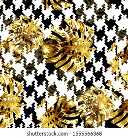 Seamless pattern with houndstooth stripes and golden monstera. Patchwork grunge background with watercolor effect. Textile print for bed linen, jacket, package design, fabric and fashion concepts