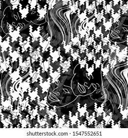 Seamless pattern with houndstooth stripes and outline faces. Patchwork grunge background with watercolor effect. Textile print for bed linen, jacket, package design, fabric and fashion concepts