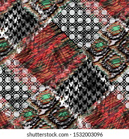 Seamless pattern with houndstooth tiles. Patchwork grunge background with watercolor effect. Textile print for bed linen, jacket, package design, fabric and fashion concepts