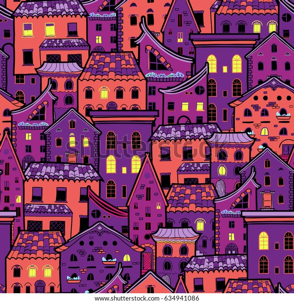 Seamless pattern with houses at night, dark doodle house background, cute purple houses with light from the windows, raster copy of vector file