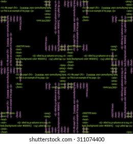 Seamless pattern with HTML codeing. Raster background