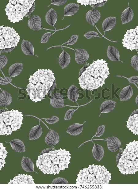 Seamless pattern with Hydrangea flowers on a green background
