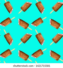 Seamless pattern ice cream watercolor summer set. Hand drawn illustration Popsicle Eskimo pie in chocolate on a stick isolated on mint blue background