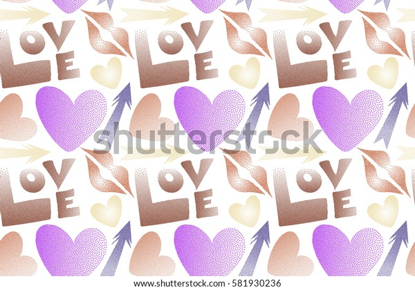Seamless pattern of icon love symbols on a white. Raster design in orange, brown and violet colors. Flat design of hearts, cupid's arrow, lipstick kisses and love word.
