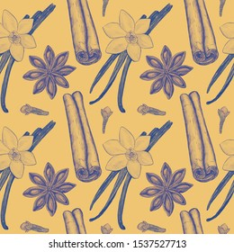 Seamless pattern, illustration drawn in pencil on a yellow background. Vanilla pod, cinnamon, star anise, cloves. Illustration for flyer, poster, wallpaper, web, invitation, greeting card, menu.