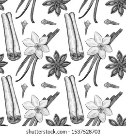Seamless pattern, illustration drawn in pencil on a white background. Vanilla pod, cinnamon, star anise, cloves. Illustration for flyer, poster, wallpaper, web, invitation, greeting card, menu.