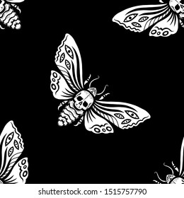 Seamless pattern. Illustration for Halloween. Dead head hawkmoth. Night moth with skull. For cards, invitations, T-shirts and more. Happy Halloween!