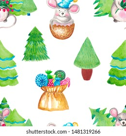 Seamless pattern. Illustration of hand painted watercolor. Rat symbol of the year on the background of Christmas trees bag of sweets. Design for digital paper cloth packing Wallpaper