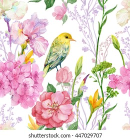 seamless pattern illustration in watercolor. branches,flowers,iris ,cherry and bird Oriole