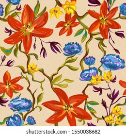 Seamless pattern with the image of bright flowers. Red, blue and yellow flowers on a background of green branches and leaves.