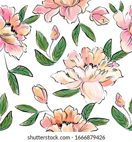 Seamless pattern with the image of delicate pink flowers on a white background.