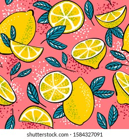 Seamless pattern with the image of lemons on a pink background in pop art style.