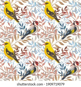 Seamless pattern with the image of orioles and jays