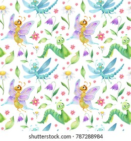 Seamless pattern of  insects caracters