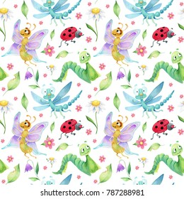 Seamless pattern of  insects caracters on white background