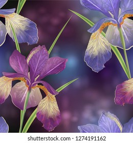 Seamless pattern with iris flowers. Modern floral pattern for packaging, textile, wallpaper, print, gift wrap, scrapbooking, decoupage, greeting or wedding background.