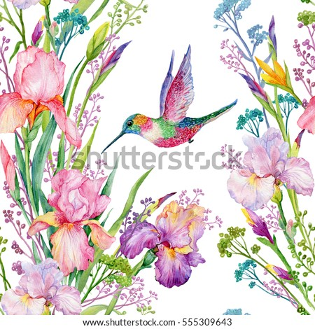 Royalty Free Stock Illustration Of Seamless Pattern Irises Flowers