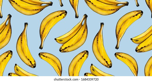 Seamless pattern isolate with a banana. Tropical fruit. Hand-drawn acrylic illustration. Design for cards, Wallpaper, fabric.