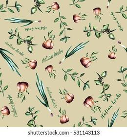 Seamless pattern with  Italian herbs. Basil, garlic, oregano, onion, thyme elements