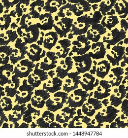 Seamless pattern of jaguar skin. Hand drawn cartoon stylized print for your design, textile. Pale yellow and black colors.