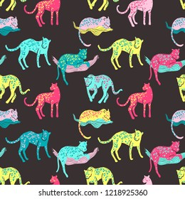 seamless pattern with jaguars. Going, staying, sleeping, jumping. Tropic wild animals and plants in folk naive style. Bright colors
