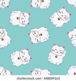 Seamless pattern with japanese lucky cat. Watercolor hand painted illustration