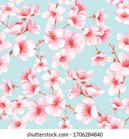 Seamless pattern with japanese sakura with pink flowers. Cherry blossom background for textile, wallpaper or wrapping paper.