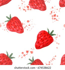Seamless pattern with juicy strawberry. Watercolor painting of fresh berries. Sketchy hand drawn elements for repeatable food background. Raster illustration.
